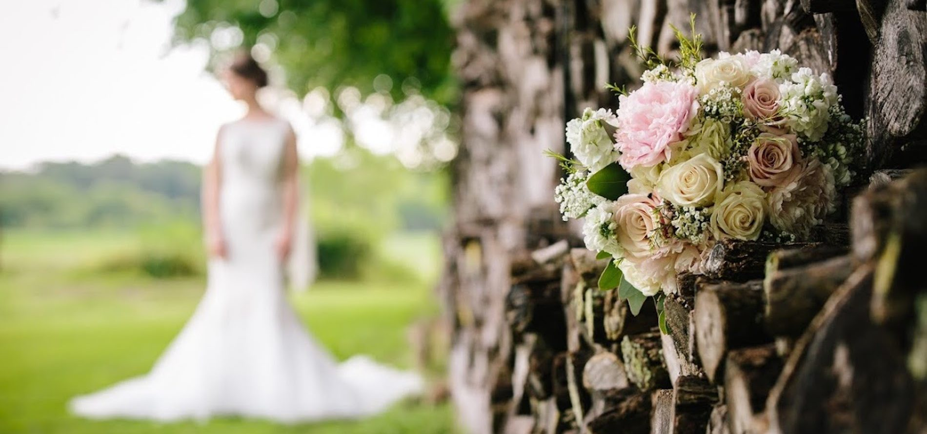 Flowers with Bride in the Background